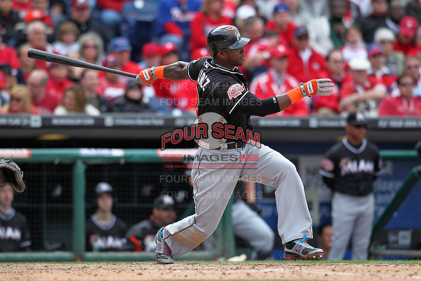 Miami Marlins third baseman Hanley Ramirez #2 during a game against the Philadelphia Phillies at Citizens Bank Park on April 9, 2012 in Philadelphia, Pennsylvania.  Miami defeated Philadelphia 6-2.  (Mike Janes/Four Seam Images)