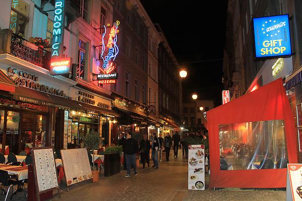 Street and restaurants outside Opera Hotel in Brussels, Belgium
