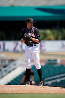 Jupiter Hammerheads relief pitcher Parker Bugg (29) gets ready to deliver a pitch during a game against the Palm Beach Cardinals on August 5, 2018 at Roger Dean Chevrolet Stadium in Jupiter, Florida.  Jupiter defeated Palm Beach 3-0.  (Mike Janes/Four Seam Images)