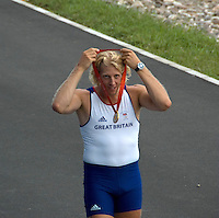 Shunyi, CHINA. GBR M4- Andy TWIGGS HODGE, hangs his gold medal round his neck,  after the medal ceremony,  Olympic Regatta, Shunyi Rowing Course.  Sunday  17/08/2008  [Mandatory Credit:  Svend Aage Nielsen/  Intersport Images]