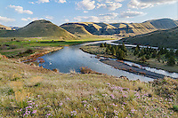 John Day River and 30 Mile Creek (entering from the left middle).  Rattray River Ranch, OR.  Evening.  Phlox wildflowers.  Early Spring.