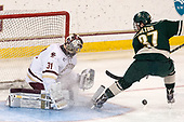 Joe Woll (BC - 31), Ross Colton (UVM - 37) - The Boston College Eagles defeated the University of Vermont Catamounts 7-4 on Saturday, March 11, 2017, at Kelley Rink to sweep their Hockey East quarterfinal series.The Boston College Eagles defeated the University of Vermont Catamounts 7-4 on Saturday, March 11, 2017, at Kelley Rink to sweep their Hockey East quarterfinal series.