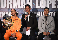 BROOKLYN - JANUARY 24: Boxers Keith Thurman and Josesito Lopez, and Fox Sports' Ray Flores attend a press conference for the January 26 PBC on FOX fight card at Barclays Arena on January 24, 2019, in Brooklyn, New York. (Photo by Frank Micelotta/Fox Sports/PictureGroup)