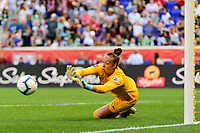 HARRISON, NJ - SEPTEMBER 29: Goalkeeper Kailen Sheridan #1 of Sky Blue FC makes  a save during a game between Orlando Pride and Sky Blue FC at Red Bull Arena on September 29, 2019 in Harrison, New Jersey.