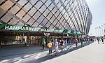 Stockholm 2014-05-24 Fotboll Superettan Hammarby IF - Varbergs BoIS FC  :  <br /> Skylt p&aring; fasaden till Tele2 Arena annonserar om matchen mellan Hammarby och Varberg<br /> (Foto: Kenta J&ouml;nsson) Nyckelord:  Superettan Tele2 Arena HIF Bajen Varberg BoIS utomhus exteri&ouml;r exterior supporter fans publik supporters skylt