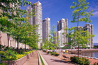 Yaletown, Vancouver, BC, British Columbia, Canada - High Rise Apartment and Condominium Buildings at False Creek, Downtown City, Summer