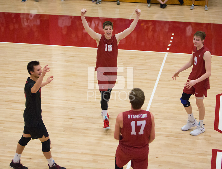STANFORD, CA - March 10, 2018: Matt Klassen, Evan Enriques, Eli Wopat, Leo Henken at Burnham Pavilion. The Stanford Cardinal lost to UC Irvine, 3-0.