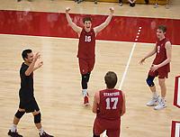 STANFORD, CA - March 10, 2018: Matt Klassen, Evan Enriques, Eli Wopat, Leo Henken at Burnham Pavilion. The Stanford Cardinal lost to UC Irvine, 3-0.