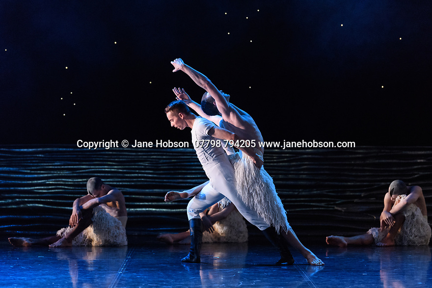 "Matthew Bourne's ""Swan Lake"" returns to Sadler's Wells Theatre, for a run until Sunday 27th January 2019. Choreographed by Matthew Bourne, with lighting design by Paule Constable and costume design by Lez Brotherston. Dancer are: Matthew Ball (The Swan), Liam Mower (The Prince), Nicole Kabera (The Queen), Katrina Lyndon (The Girlfriend), Glenn Graham (The Private Secretary), Megan Cameron (The Hungarian Princess), Freya Field (The German Princess), Zanna Cornelis (The Romanian Princess), Nicole Alphonse, Jonathan Luke Baker, Tom Broderick, Kayla Collymore, Keenan Fletcher, Bryony Harrison, Parsifal James Hurst, Jack Mitchell, Harry Ondak-Wright, Ashley-Jordan Packer, Jack William Parry, Stan West, Carrie Willis. Picture shows: Liam Mower (The Prince), Matthew Ball (The Swan)"