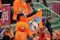 SCHAATSEN: HAMAR: Vikingskipet, 11-01-2014, Essent ISU European Championship Allround, Nederlandse schaatssupporters, oranje, ©foto Martin de Jong