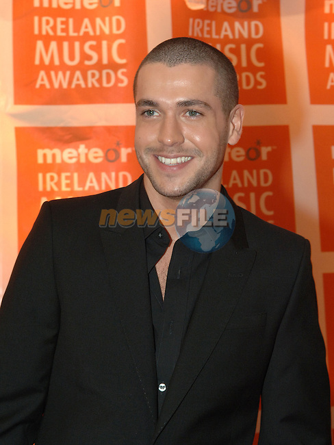 Shayne Ward arriving at the Meteor Irish music awards at the Point theatre in Dublin Photo colin Bell / Newsfile