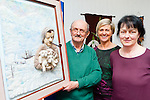 Artist Martyn Bell presents Killarney Library his picture of Tom Crean which was part of his Creative Ways with Wool exhibition which was running in the Library the last few weeks l-r: Martyn Bell, Kathleen Rice and Noreen Dennehy
