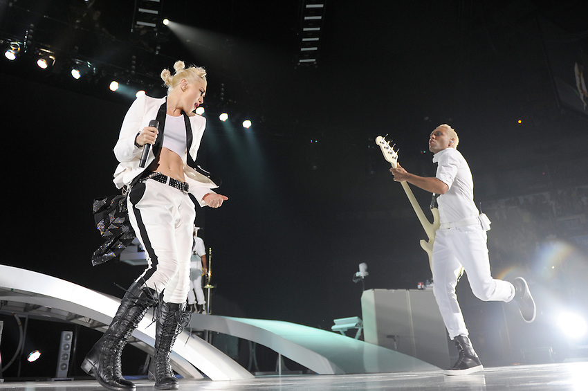Singer Gwen Stefani (L) and bassist Tony Kanal of No Doubt perform at Air Canada Centre on June 16, 2009 in Toronto, Canada. (Arthur Mola/pressphotointl.com)
