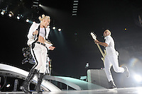 Singer Gwen Stefani (L) and bassist Tony Kanal of No Doubt perform at Air Canada Centre on June 16, 2009 in Toronto, Canada. (Arthur Mola/pressphotointl.com)