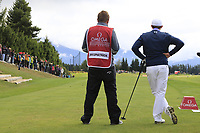 Matthew Fitzpatrick (ENG) and caddy Jamie on the 7th tee during Sunday's Final Round of the 2017 Omega European Masters held at Golf Club Crans-Sur-Sierre, Crans Montana, Switzerland. 10th September 2017.<br /> Picture: Eoin Clarke | Golffile<br /> <br /> <br /> All photos usage must carry mandatory copyright credit (&copy; Golffile | Eoin Clarke)