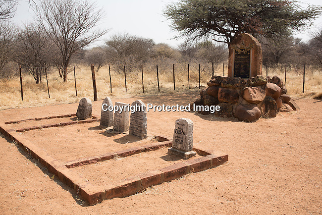 OTJIWARONGO, NAMBIA- AUGUST 14: A graveyard on the land of German farmer W.G. Diekmann at his massive 20,000 hectares farm named Hamakari outside Otjiwarongo, Namibia, about 280 km from Windhoek, Namibia. His forefathers started running the farm in 1908. Hamakiri was the venue for a decisive battle on the Herero uprising in 1904. (Photo by Per-Anders Pettersson)