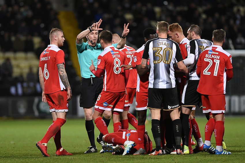 Referee orders the players to back off after Notts County's Matty Virtue does a dangerous tackle against Crawley's Josh Payne<br /> <br /> Photographer Jon Hobley/CameraSport<br /> <br /> The EFL Sky Bet League Two - Notts County v Crawley Town - Tuesday 23rd January 2018 - Meadow Lane - Nottingham<br /> <br /> World Copyright &copy; 2018 CameraSport. All rights reserved. 43 Linden Ave. Countesthorpe. Leicester. England. LE8 5PG - Tel: +44 (0) 116 277 4147 - admin@camerasport.com - www.camerasport.com