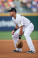 Charlotte Knights first baseman Chris Marrero (14) on defense against the Indianapolis Indians at BB&T BallPark on June 20, 2015 in Charlotte, North Carolina.  The Knights defeated the Indians 6-5 in 12 innings.  (Brian Westerholt/Four Seam Images)