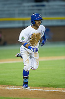 Cristhian Vasquez (44) of the Burlington Royals hustles down the first base line against the Bluefield Blue Jays at Burlington Athletic Stadium on June 27, 2016 in Burlington, North Carolina.  The Royals defeated the Blue Jays 9-4.  (Brian Westerholt/Four Seam Images)