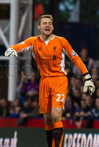 05.05.2014  London, England. Liverpool goalkeeper Simon Mignolet (22) during the Barclays Premier League match between Crystal Palace and Liverpool from Selhurst Park