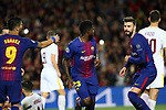 UEFA Champions League 2017/2018.<br /> Quarter-finals 1st leg.<br /> FC Barcelona vs AS Roma: 4-1.<br /> Luis Suarez, Samuel Umtiti &amp; Gerard Pique.
