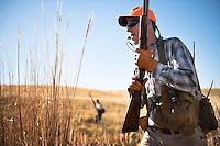 David Thompson, right, and Pete Coppolillo, both of Bozeman, Montana, hunt pheasant near Big Sandy, Montana.