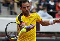 BOGOTA - COLOMBIA – 15 – 09 -2019: Santiago Giraldo de Colombia devuelve la bola a Franko Skugor de Croacia, durante Partido de la Copa Davis entre los equipos de Colombia y Croacia, partidos por el ascenso al Grupo Mundial de Copa Davis por BNP Paribas, en la Plaza de Toros La Santamaria en la ciudad de Bogota. / Santiago Giraldo<br /> of Colombia returns the ball to Franko Skugor of Croatia during a Davis Cup draw between the teams of Colombia and Croatia, match promoted to the World Group Davis Cup by BNP Paribas, at the La Santamaria Ring Bull in Bogota city. / Photo: VizzorImage / Luis Ramirez / Staff.