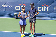 Washington, DC - August 5, 2017: Shuko Aoyama (JPN) and Renata Voracova (CZE) pose for their championship at Rock Creek Park Tennis Center in Washington, DC. (Photo by Elliott Brown/Media Images International)
