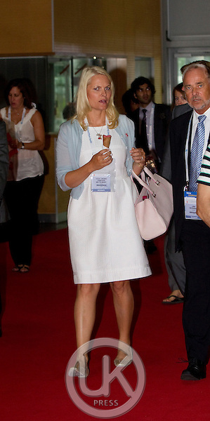 "Crown Princess Mette Marit of Norway on a three day visit to Vienna to attend the 18th International UNAIDS Conference..attends a  Session "" Towards a paradigm shift in HIV treatment and prevention"" at the Vienna conference Centre"