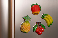 REFRIGERATOR MAGNETS<br /> Fruit Magnets On A Refrigerator