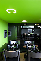 The kitchen has been conceived as a box beneath the mezzanine floor, with reflecting black and lime green thermo-lacquered walls and ceiling