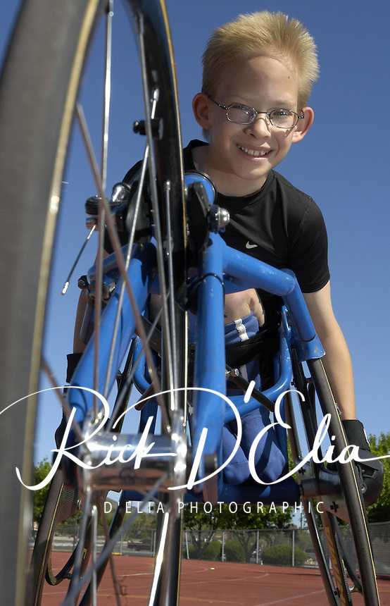 Stephen Binning, 10 has been racing his wheel chair for four years and recently received agrant of $2,000 for a new racing chair.     (Rick D'Elia)<br />