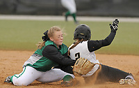 NWA Democrat-Gazette/BEN GOFF @NWABENGOFF<br /> Cali Jones, Van Buren second baseman, tags out Bentonville pinch runner Ashlynn Taylor while attempting to steal 2nd Thursday, March 16, 2017, during the softball game at Bentonville's Tiger Athletic Complex.