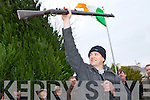 Derry Healy shows the crowd the rifle that was used at the Headford Ambush