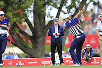 Brandt Snedeker US Team tees off the 12th tee during Thursday's Practice Day of the 41st RyderCup held at Hazeltine National Golf Club, Chaska, Minnesota, USA. 29th September 2016.<br /> Picture: Eoin Clarke | Golffile<br /> <br /> <br /> All photos usage must carry mandatory copyright credit (&copy; Golffile | Eoin Clarke)