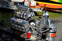 Supercharged, blown engine for a Grand Prix Hydroplane..Syracuse Hydrofest, Onondaga Lake, Syracuse, NY.20/21 June, 2009, Dayton, OH USA..©F. Peirce Williams 2009 USA.F.Peirce Williams.photography.ref: RAW (.NEF) File Available