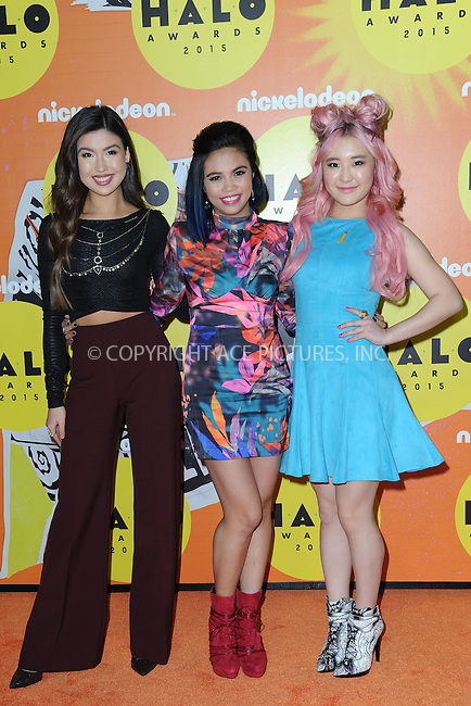 WWW.ACEPIXS.COM<br /> November 14, 2015 New York City<br /> <br /> Erika Tham, Louriza Tronco and Megan Lee attending the 2015 Nickelodeon HALO Awards at Pier 36 on November 14, 2015 in New York City.<br /> <br /> Credit: Kristin Callahan/ACE<br /> Tel: (646) 769 0430<br /> e-mail: info@acepixs.com<br /> web: http://www.acepixs.com