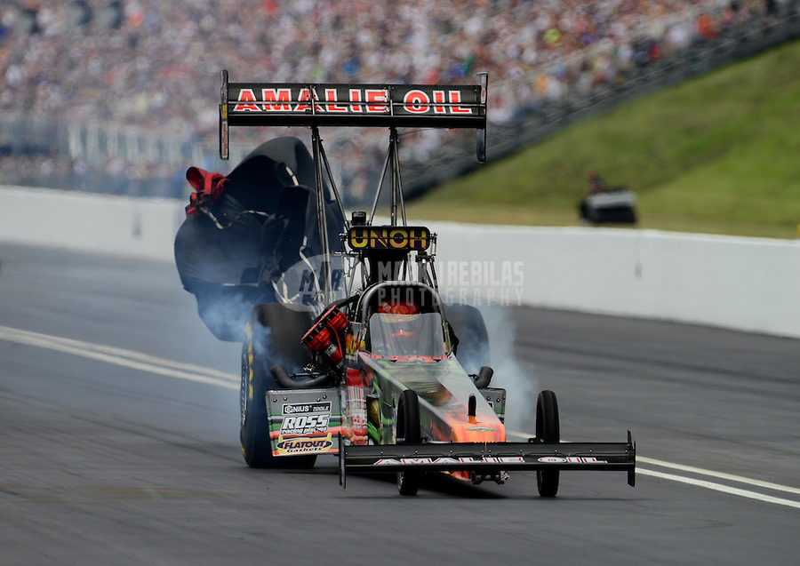 Jun. 17, 2012; Bristol, TN, USA: NHRA top fuel dragster driver Terry McMillen during the Thunder Valley Nationals at Bristol Dragway. Mandatory Credit: Mark J. Rebilas-
