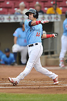 Cedar Rapids Kernels second baseman Jose Miranda (15) swings at pitch against the South Bend Cubs at Veterans Memorial Stadium on May 1, 2018 in Cedar Rapids, Iowa.  (Dennis Hubbard/Four Seam Images)