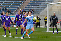 Bridgeview, IL, USA - Sunday, May 1, 2016: Chicago Red Stars midfielder Sofia Huerta (11) and Orlando Pride midfielder Maddy Evans (18) during a regular season National Women's Soccer League match between the Chicago Red Stars and the Orlando Pride at Toyota Park. Chicago won 1-0.