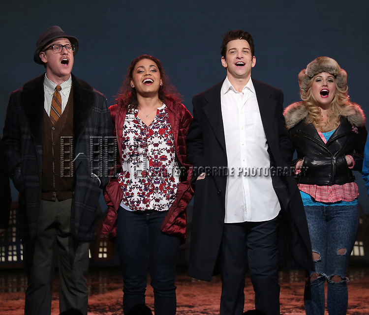 John Sanders, Barrett Doss, Andrew Call, Andy Karl and Rebecca Faulkenberry during the Broadway Opening Night Curtain Call Bows for 'Groundhog Day' at August Wilson Theatre on April 17, 2017 in New York City.