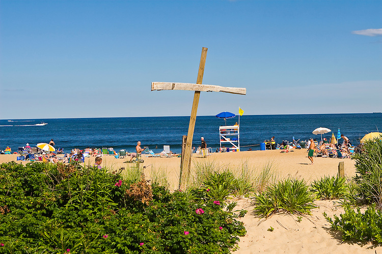 Wooden cross on the beach in Ocean Grove, a strict, methodist community, New Jersey