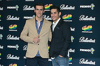 Lluis Salom and Alex Rins attend the 40 Principales Awards at Barclaycard Center in Madrid, Spain. December 12, 2014. (ALTERPHOTOS/Carlos Dafonte) /NortePhoto