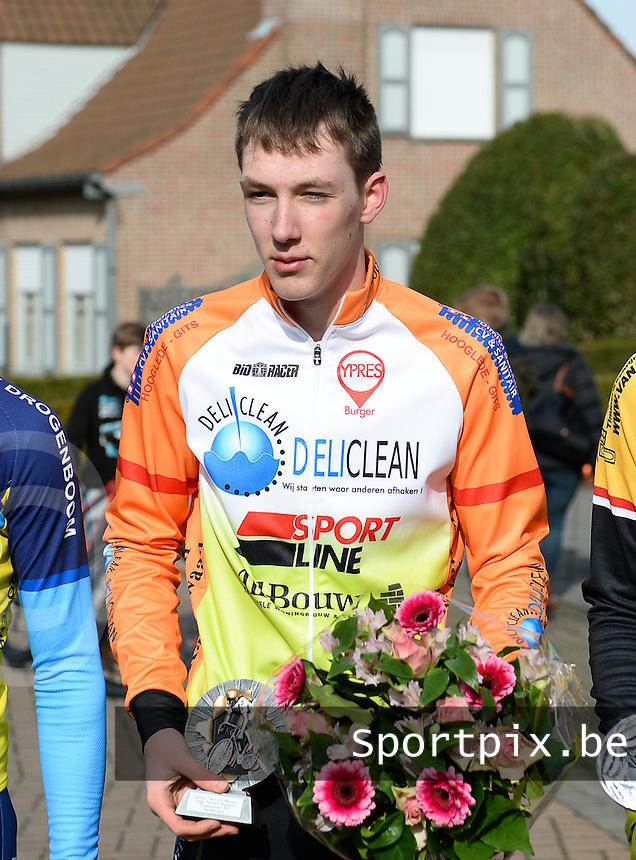 Meulebeke Clubkampioenschappen 2015 Nieuwelingen : <br /> Thomas Vansteelandt winnaar clubkampioenschap voor CT Luc Wallays <br /> foto VDB / BART VANDENBROUCKE