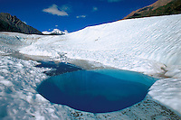 Blue Hole from glacier melt off on Root Glacier in Wrangell-St. Elias National Park.