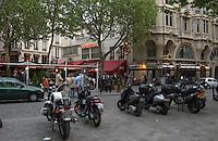 Latin quarter,restaurants and bars spring evening, Paris, France.