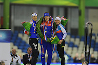 SCHAATSEN: HEERENVEEN: 24-01-2016, IJsstadion Thialf, NK Allround, Annouk van der Weijden, Antoinette de Jong, Linda de Vries, ©foto Martin de Jong