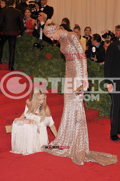 Rachel Zoe and Karolina Kurkova at the 'Schiaparelli And Prada: Impossible Conversations' Costume Institute Gala at the Metropolitan Museum of Art on May 7, 2012 in New York City. © mpi03/MediaPunch Inc.