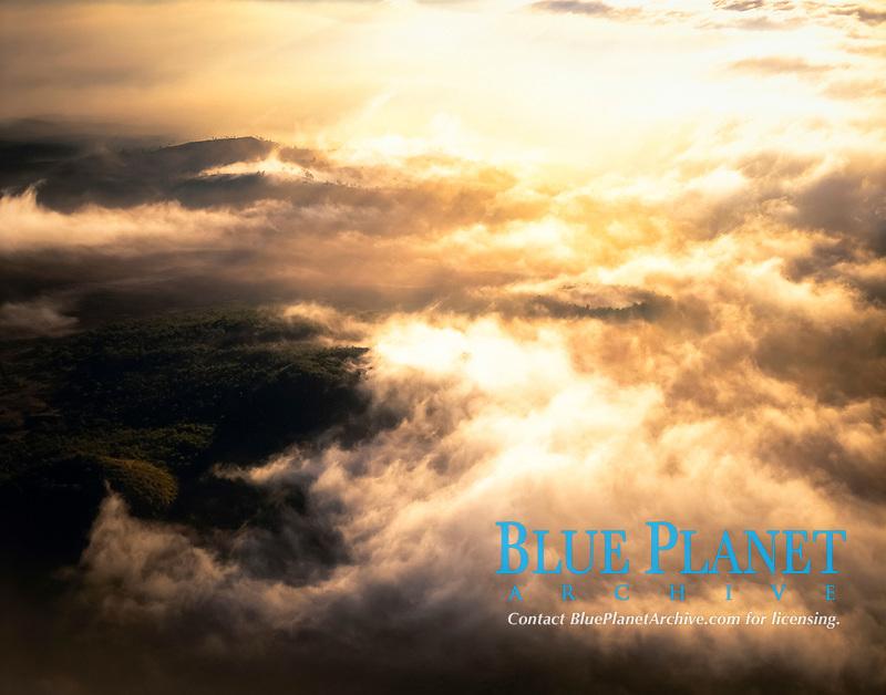 USA, Hawaii, Big Island, Aerial image at sunrise of Hualalai volcano