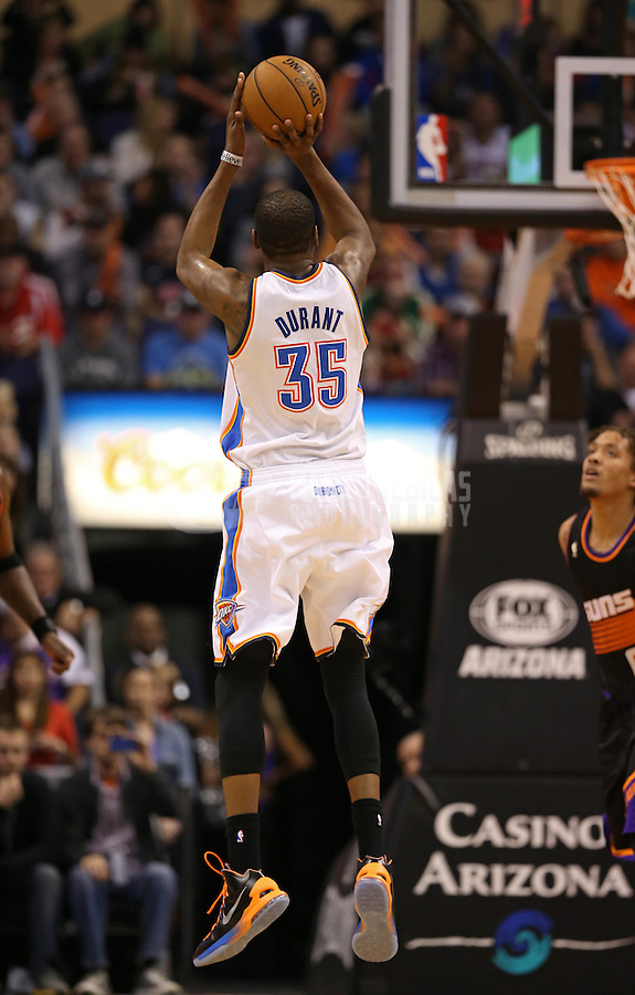 Feb. 10, 2013; Phoenix, AZ, USA: Oklahoma City Thunder forward Kevin Durant (35) against the Phoenix Suns at the US Airways Center. Mandatory Credit: Mark J. Rebilas-